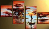afrikanische kunst ölfarbe großhandel-Malerei-Segeltuch afrikanische Landschaftszusammenfassung Ölgemälde Landschaft handgemalte Wandkunst-Dekorgrafik