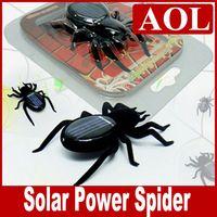 insectes robots achat en gros de-Mini Solar Powered Spider Robot insecte amusant cadeau jouet éducatif Gadget avec emballage de détail livraison gratuite