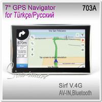 Wholesale Gps Navigation Sirf V - 7 inch car GPS navigation SiRF Atlas-V Dual core CPU DDR 128M 8memory Bluetooth AV-IN optional with 2014 newset 3D maps by DHL free