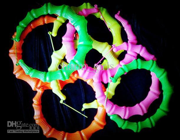 Floresan renkler 90 MM Büyük abartı 10 pairs = 20 adet Bambu küpe Gece Kulüpleri HIPHOP CAZ
