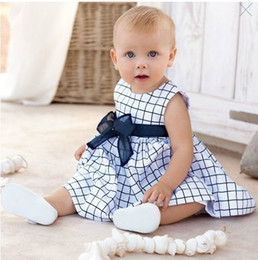 Wholesale Little Princess Baby One Piece - 2016 New cute little princess refreshing color baby summer plaid skirt one-piece dress