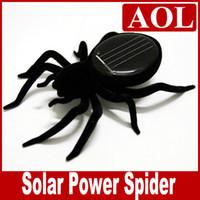 mini güneş araba yarışçısı toptan satış-Siyah Güneş Örümcek Bilim Doğa Eğitim Öğrenme Oyuncaklar Güneş Enerjili Robot Noel hediyesi