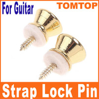 Wholesale Golden Strap Lock - 50pcs Golden Metal Strap Lock pins For Electric Acoustic Guitar Bass I48G free shipping