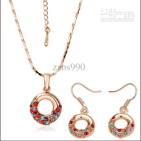 Best-selling plated 18K rose gold crystal necklace earrings Jewelry Set Free Shipping 5set/lot