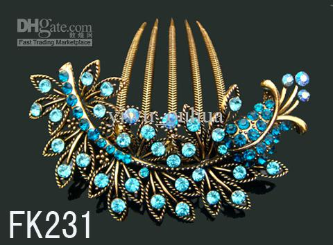 Wholesale hot sell Vintage Hair Jewelry rhinestone fashion hair combs hair accessory mixed color FK231