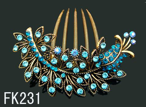 Wholesale hot sell Vintage Hair Jewelry rhinestone fashion hair combs hair accessory Free shipping 12pcs lot mixed color FK231