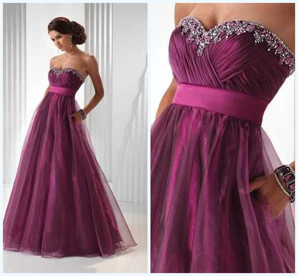 In Stock Size 6 8 10 12 14 16 Beaded Sweetheart Purple Prom Dresses