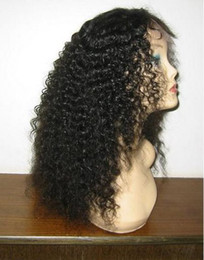 Wholesale Cheap Brazilian Virgin Half Wig - 2014 New Arrival Cheap Wholesale-16'' #1 Kinky Curly 100% Malaysian remy human hair full lace wig front lace wig tangle free hot sale stock