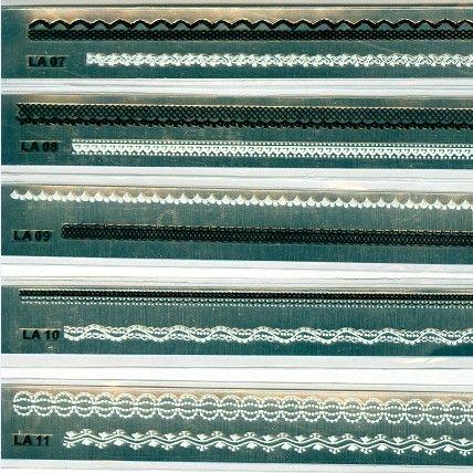 36 Pz / lotto New Fancy Nail decalcomanie Nail Art Sticker Linea Lace Seal White Black Flower Nail Patch