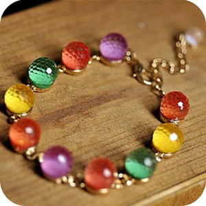 Wholesale Best Selling Fashion Candy Color Crystal Beads Rhinestones Bracelets Gold Color Women stylish new