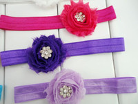 Wholesale Vintage Rosette - Trial order Vintage Shabby Flower Headbands Matching Rosette Flower Sparking Rhinestone Nylon Hair Band 30pcs lot QueenBaby