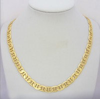 Wholesale Mens Gp Chains - womens mens unisex solid 24K yellow gold GP necklace long chain stair shape noblest party jewel gift