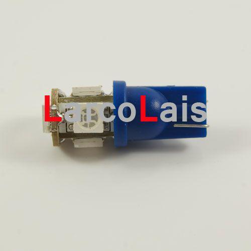 10 STKS BLAUW 5 SMD 5050 LED T10 W5W 194 168 3CHIPEN LED-lampen Auto Auto Light Lights Bulb Lamp 5LED 5-LED