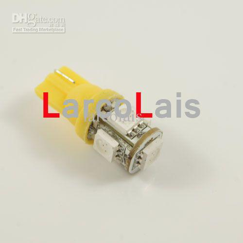 10 sztuk Amber 5 SMD 5050 LED T10 Light W5W 194 168 3CHips 5led Car Light Lights LED 5-LED żarówki żarówki