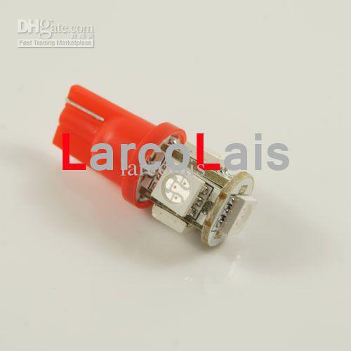 10ピースレッド5 SMD 5050 LEDランプT10 W5W 194 168 3チップ車の自動ライト5LEDライト電球5-LEDの電球ランプ