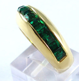 Wholesale Emerald Solid Yellow Gold Rings - womens mens solid 14K yellow gold GP ring with green   emerald peridot gemstone Zircon rings gift