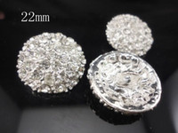 Wholesale Rhinestones Shank - 22mm Clear Alloy Full Of Crystal Button Spark Rhinestone Buttons with Shank 200pcs lot Photography Props QueenBaby