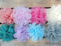 "Wholesale Chiffon Mesh Fabric Flowers - 4 1 2"" Soft Silk Mesh Flowers Hair Fabric Flowers Fluffy Shabby Chiffon Flower Head Accessories 240pcs lot QueenBaby"