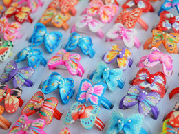 Wholesale Butterfly Fimo - Rings Jewelry 100pcs Butterfly FIMO polymer clay Ring Jewelry Children kid jewelry 13-16mm