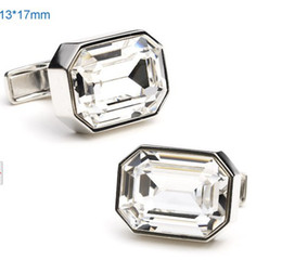 Wholesale Mens Crystal Cufflinks - 10pairs Square Facet Solid Austrial Crystal Wedding Cuff Links Mens Luxury Suit Dress Cufflinks