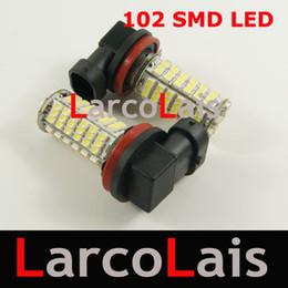 Wholesale H8 Bulb Head Lights - 2PCS 102 LED H8 SMD 1210 Car Head Fog Light Bulb White 102-LED 3528 12V Auto Lights 102LED Bulbs