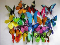 Wholesale Lowest Price Christmas Decorations - Low price 200pc 8*5cm Artificial Butterfly plastic magnet for Home Christmas Decoration
