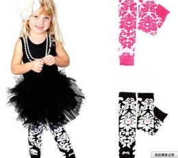 Wholesale Damask Print - Flower Baby Pink Black Damask Print Leg Warmers with Pink Heart Newborn Arm Christmas Preteen Leg Warmer Huggers 120pair lot