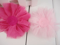 "Wholesale Order Tutu - Trial order 3.5"" Tulle Flowers Full Of Gem Crystal Tutu Mesh Flowers Puff Flower 30pcs lot"