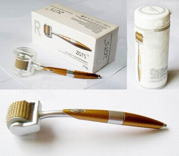ドロップシップZGTS Dermaローラー192チタンの針、黄金のハンドル、フリースシップが付いているチタン合金の針Dermaローラー