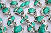 Wholesale Silver Turquoise Jewelry Box - Rings Jewelry Charm Lots Turquoise Stone CZ Rhinestone Silver Plated Ring Fashion 25pcs Include Box