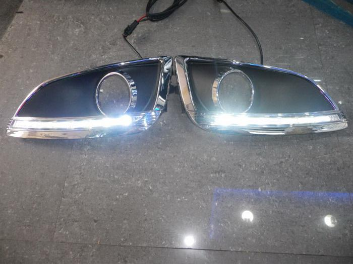 Süper parlak LED gündüz farları DRL sis lambası kapağı, Hyundai IX35 2010 ~ 13 için LED sis lambası, yedek