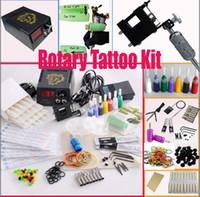 Wholesale Rotary Machine Tattoo Set - Rotary Tattoo Machine Gun Kits LED Power Supply Set 20 Needles 8 Steel Tips Accessories