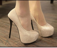 Wholesale High Platfrom - 2012-4 Evening Party Glittering High Platfrom Stiletto Heels 2 colors Women Fahsion Sexy Pumps