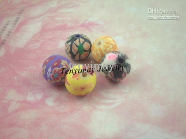 Cuentas de arcilla polimérica envío gratis, color mezclado 10mm accesorios de joyería de arcilla al por mayor, cuentas sueltas de arcilla