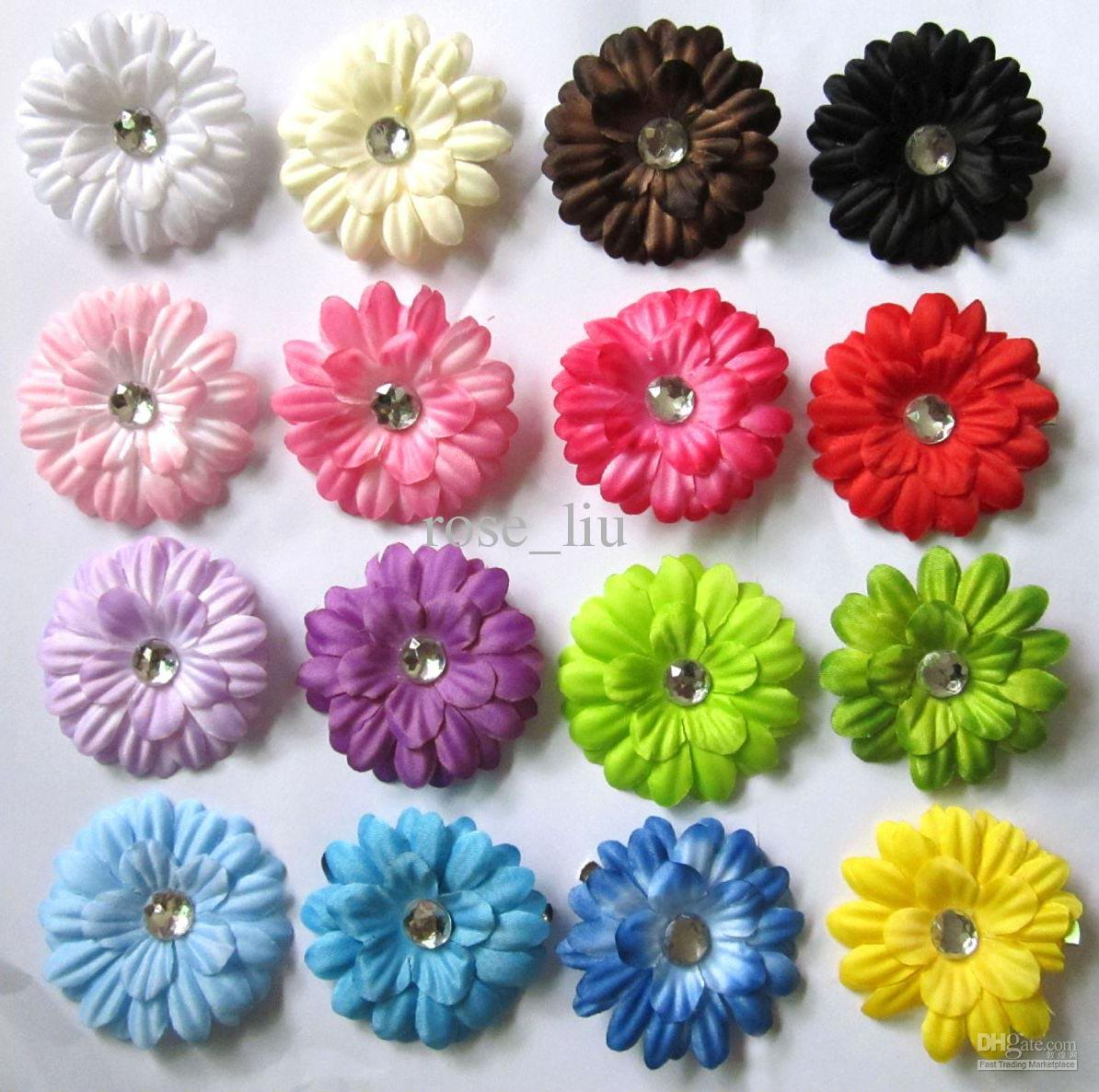 "16 Colors 2"" Gerbera Daisy Children's Hair Accessories baby Girls Flower Clip Free shipping"