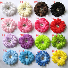 Wholesale Cotton Paper Flowers - 16 Colors 2inch Gerbera Daisy Children's Hair Accessories baby Girls Flower Clip