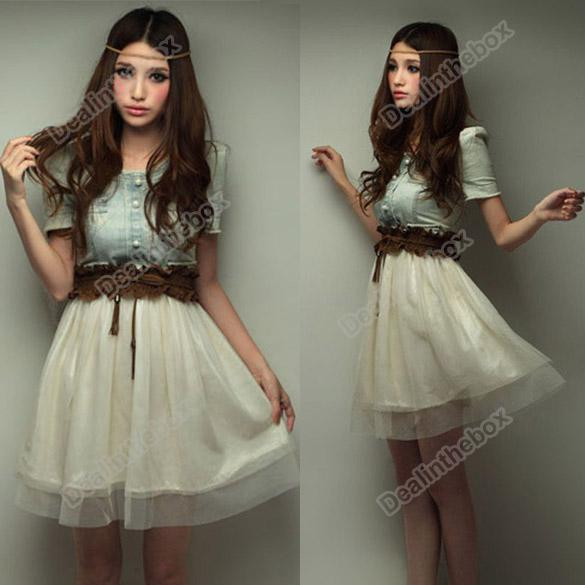 Women Vintage Jean Denim Party Dress Retro Girl Blue Top White Skirt With Belt Adeal 3664 Sweater Dresses Lace From 1602