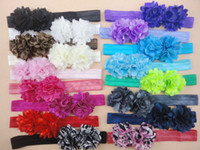 Wholesale Satin Tulle Flower Headband - Double Mini Satin Mesh Tulle Flowers Headband Shimmer Stretchy Nylon Elastic Hair Band 30pcs lot QueenBaby