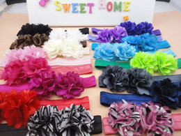 Wholesale Wholesale Tulle Satin Mesh Flower - Double Mini Satin Mesh Tulle Puff Flowers on Shimmer Stretchy Nylon Hair Band Elastic Photography Props Headbands 120pcs lot