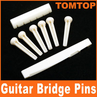 Wholesale Bone Guitar Bridge Pins - A Set of White   Black Folk Guitar Bone Bridge Pins Saddle Nut I78 I78B