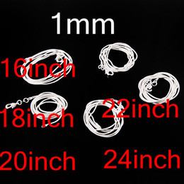 Wholesale Order Wholesale China - Mixed Order 1mm 16inch~24inch 925 Silver Smooth Snake Chain Necklace ,Top Sale Vogue Silver Chain Necklaces 100Pcs