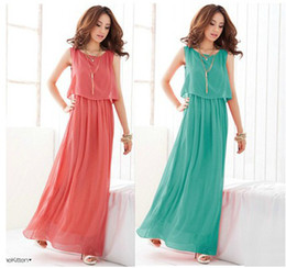 Wholesale Solid Maxi Dresses Wholesale - Mixed Women's Bohenmia Pleated Wave Lace Strap Princess Chiffon Maxi long dress Red, Rose,Green,Grey,Purple,Yellow&Green Colours Sleevelessl