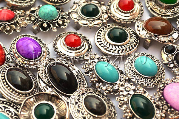 Rings Resin Imitated gemstone Rhinestone Silver T Ring mixed 25pcs Tibetan style Jewelry include box