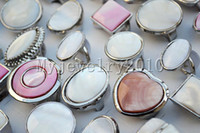 Wholesale Silver Tone Jewelry Box - Rings Silver Plated Shell gemstone Silver tone Ring 12pcs Fashion style Jewelry include box