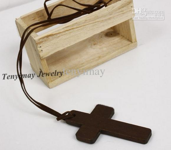 Collar cruzado de madera Envío gratis Collar cruzado de cuero de forma