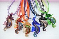 Wholesale Glass Seahorse Pendant - Pendant Necklace Wholesale Animal seahorse Bulk Italian venetian handmade Murano glass bead pendants Organza Silk necklaces 6pcs