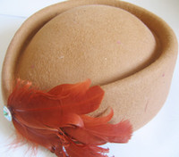 Wholesale Stewardess Top - Wool Stewardess Air Hostesses Pillbox Hat Feather Top Hat Wedding hat 10pcs lot #2024
