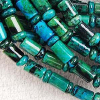 Wholesale Azurite Chrysocolla Beads - 6x9mm Azurite Chrysocolla Gem Column Loose Bead 15inch