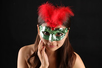 Wholesale Colorful Carnival Masks - Halloween mask colorful feather diamond party mask gold plated masquerade mask carnival hip hop dance costume mix color free shipping
