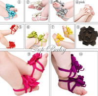 Wholesale Top Baby Flower Sandals Shoes - 10pairs FASHION top baby Foot flower Baby Sandals Barefoot Sandals  Baby Shoes Toddler Shoes